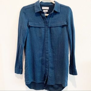 Madewell Blue Button Down Top Long Sleeve Xs